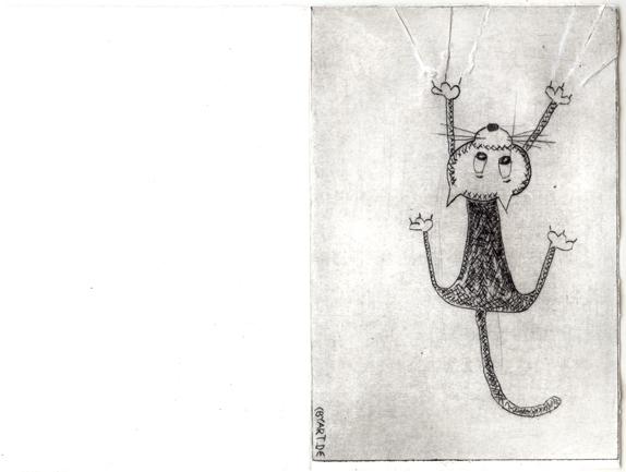 Kaltnadelradierung Postkarte Katze cbyart