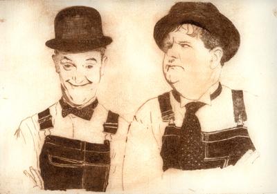 Stan Laurel & Oliver Hardy Radierung