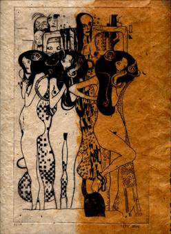 Radierung Gustav Klimt Kaltnadelradierung cbyart