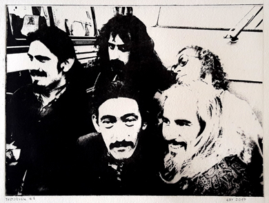 Zappa and the Mothers, Intagliotypie, Photopolymer, Lichtradierung